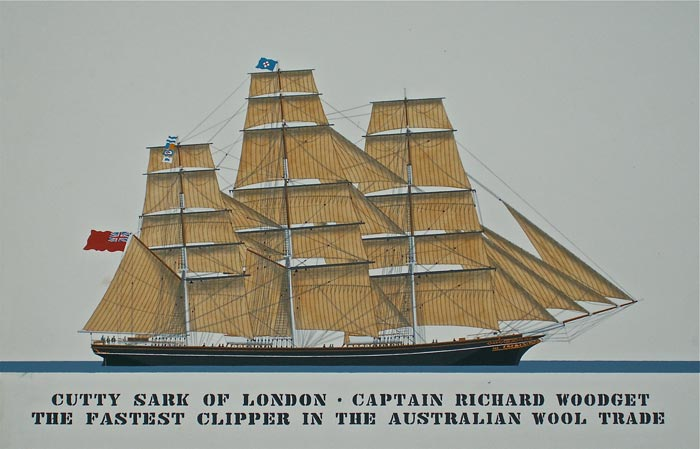 Cutty sark of london . Captain Richard Woodget. The fastest Clipper in the Australian  wool trade
